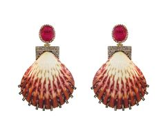 18 carat gold, diamond, shell and ruby earrings / Silvia Furmanovich