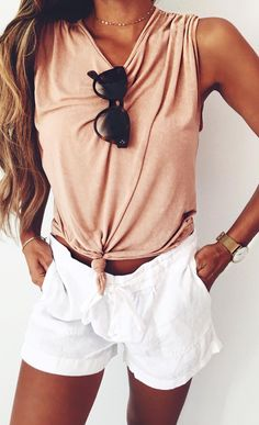 summer outfits Coral Tank + White Short