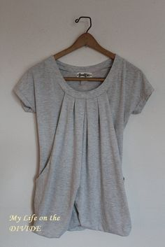 DIY no-sew nursing top. Not sure that I'd use the ties... not so one-handed friendly. Maybe elastic, snap, or bikini clasp?