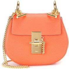 Chloé Nano Drew Leather Shoulder Bag ($1,240) ❤ liked on Polyvore featuring bags, handbags, shoulder bags, orange, red leather handbag, orange purse, leather handbags, orange leather purse and red handbags