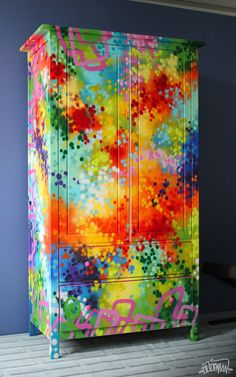 Armoire paint job commissioned for a Chatelaine Magazine photoshoot, published in the March 2012 issue. Spray paint with a touch of paint marker. Armoire paint job commissioned for a Chatelaine… Funky Painted Furniture, Upcycled Furniture, Furniture Projects, Furniture Makeover, Cool Furniture, Colorful Furniture, Painting Furniture, Bedroom Furniture, Street Furniture