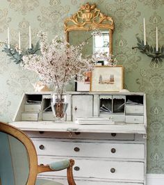 Painted secretary desk and room decor inspiration for home office, bedroom, living space. House Styles, Decor, Interior Design, Dream Decor, Inspired Homes, Home, Interior, Decorating Your Home, Home Decor