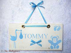 Namensschild in Babyblau für Jungen von ©THE BABYPASS  auf DaWanda.com