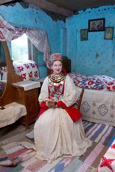 Europe | Portrait of a woman wearing traditional clothes, Posavina, Bosnia - Croatia - Serbia #embroidery