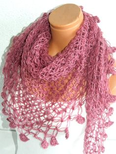 2012 trends scarf hand knit pink scarf women by WomanStyleShop