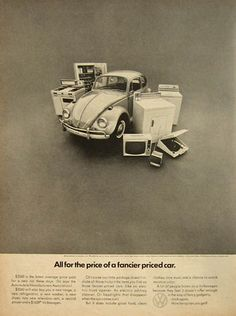 "Volkswagen Beetle, ""All for the price of a fancier priced car."", Doyle Dane Bernbach, 1960s"