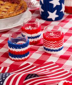 Patriotic Votive Cozies Free Knitting Pattern in Red Heart Yarns