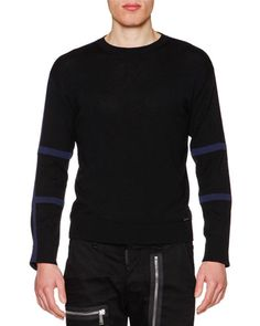 DSQUARED2 Tape-Trim Long-Sleeve Wool Sweater, Black/Blue. #dsquared2 #cloth #