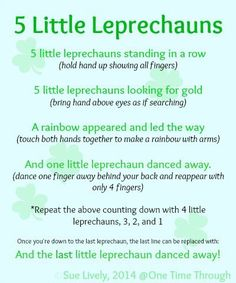 5 Little Leprechauns Fingerplay Counting Rhyme