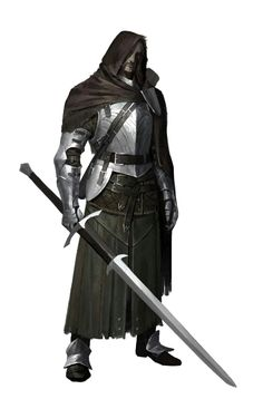 Human Fighter Knight with Greatsword - Pathfinder PFRPG DND D&D d20 fantasy