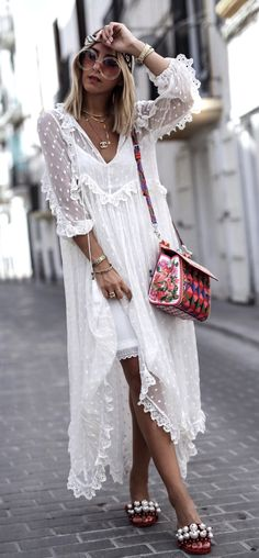#summer #outfits White Tulle Maxi Dress + Floral Shoulder Bag