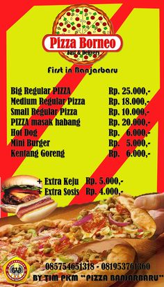 Menu yang ada di Pizza Borneo