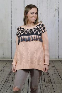 Blush Tassel Sweater