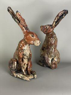 Raku fired ceramic hares Mugs And Jugs, Pottery Handbuilding, Wheel Throwing, Pottery Classes, Birthday Treats, Garden Ornaments, Something Beautiful, Can Opener, Bunting