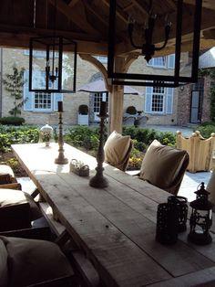 Garden table on courtyard