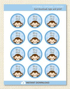 Baby Monkey Printable Cupcake Toppers by LittlePrintsParties, $5.00