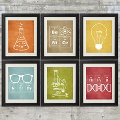 Nerdy Science Art  -  set of 6- 8x10 Instant Download Printables with Erlenmeyer Flask, DNA, Elements for science themed bedroom or nursery by PrintsAndPrintables on Etsy https://www.etsy.com/listing/206188822/nerdy-science-art-set-of-6-8x10-instant