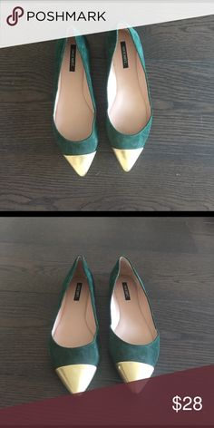 Green suede flats from Shoemint. Size 8.5 Fun green suede flats with gold toe. Size 8.5. From shoemint. Shoemint Shoes Flats & Loafers