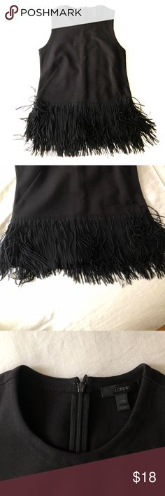 J.crew fringe top worn once XXS zip back cotton Sleeveless black fringe top by J.crew. Worn only once (then I got pregnant and couldn't wear anymore!). Zipper in back. Fitted with fun fringe. XXS perfect for those size zero girls. Moving and downsizing closet so everything must go. Please check out my other listings! Selling a ton! J. Crew Tops Tank Tops