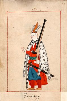 "Guard  ""Baltagii""   This soldier is dressed as a Janissary with a leopard skin.  The 'Rålamb Costume Book' is a small volume containing 121 miniatures in Indian ink with gouache and some gilding, displaying Turkish officials, occupations and folk types. They were acquired in Constantinople in 1657-58 by Claes Rålamb who led a Swedish embassy to the Sublime Porte, and arrived in the Swedish Royal Library / Manuscript Department in 1886."