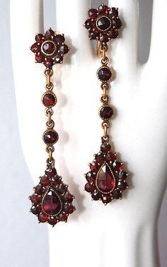 Stunning Antique Victorian Bohemian Garnet Long Dangle Screw Back Clip Earrings #DropDangle