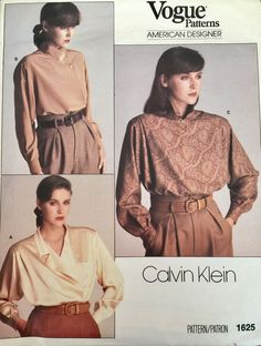Calvin Klein Vogue Sewing Pattern Misses' Blouse Loose Fitting 1625 SZ  8 UC #VoguePatterns #CalvinKlein