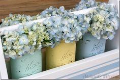 Spring Mason Jars & Caddy | Painted Distressed Mason Jar for Spring | @ Mason Jar Crafts Love @masonjarcraft