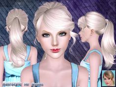 Messy ponytail hairstyle 140 by Skysims for Sims 3 - Sims Hairs - http://simshairs.com/messy-ponytail-hairstyle-140-by-skysims/