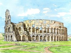 Titel: Rome Colosseum This is an archival quality print from my original pen and watercolor painting. The prints are shipped signed and dated in