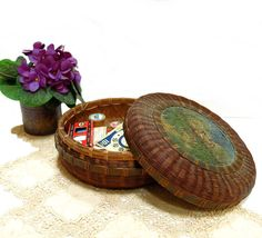 Vintage Reed Basket Woven 1920s Sewing Trinket by CoconutRoad, $20.00