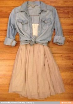 Simple pair of fabric sneakers, flats, or cowboy boots, throw in a bangle bracelet or a chunky necklace and a large belt, would be sooo cute