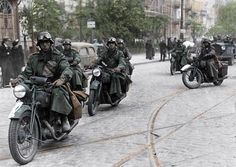 The start of Word War II. German invasion of Poland. September '39. German motorized troops on the streets of Warsaw