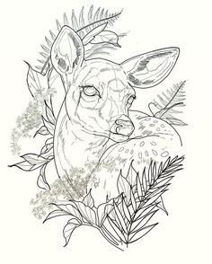 New School Inspiration Deer Drawing, Painting & Drawing, Doe Tattoo, Raven Tattoo, Tattoo Ink, Tattoo Drawings, Art Drawings, Rite De Passage, Geometric Deer