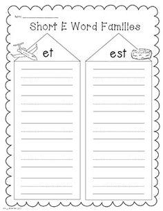 Short e phonics/word work printables