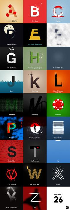 """""""Movies Mapped Out"""" illustrated alphabet by Doaly via Creative Bloq"""