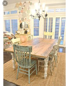 awesome My new farm style table w/mismatched chairs! Dining Room Table, Table And Chairs, Kitchen Tables, Farm Tables, Farm Table Diy, Table Bench, Rustic Table, Wood Table, Room Chairs