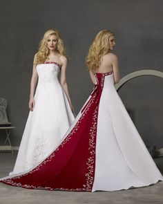 White and merlot wedding gown. This Strapless White Satin A-Line wedding gown opens at the back with a lace-up detail. The merlot contrasting trim on the neckline and inset on the chapel Train are embellished with beaded Embroidery. Wedding Dress Pictures, Stunning Wedding Dresses, Colored Wedding Dresses, Bridal Dresses, Bridesmaid Dresses, Red White Wedding Dress, Dress Wedding, Burgundy Wedding, Lace Wedding