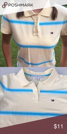 Tommy Hilfiger striped shirt Yellow Tommy Hilfiger shirt with blue stripe Tommy Hilfiger Tops
