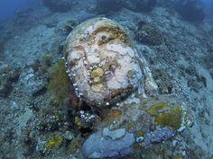 underwater Buddha statue in Bali
