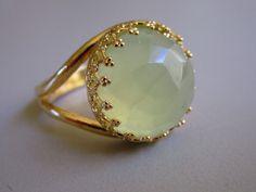 Vintage Gold ring, Green jade 14k gold cocktail ring, Faceted green jade $49.00, via Etsy.
