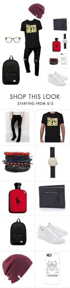 """""""Ohh, walking dead..."""" by justelo ❤ liked on Polyvore featuring Sik Silk, MIANSAI, Ralph Lauren, Vlieger & Vandam, Herschel Supply Co., adidas Originals, Coal, Casetify, Tom Ford and men's fashion"""