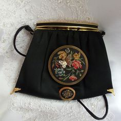 Black Vintage Evening Bag, Haute Couture Silk Purse with antique compact mirror, Elegant Lady Steampunk Clutch, La Marelle Couture $207