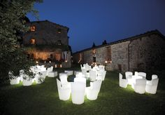 The Zoe Chair is an outdoor chair that is available with a white LED light perfect for the evening time.