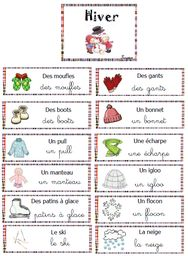 vocabulaire - l'hiver Educational Activities For Preschoolers, Vocabulary Activities, Preschool Themes, Kindergarten Activities, French Teaching Resources, Teaching French, French Worksheets, Worksheets For Kids, Art Therapy Children