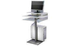 Flatline Computer Stations are freestanding; they accommodate free-standing monitors and keyboards.