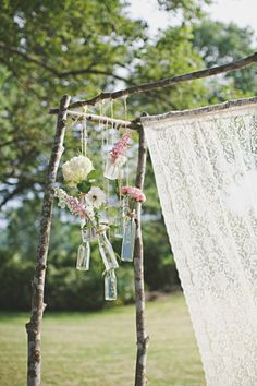 lace and bud vase ceremony alter - Charlottesville wedding at Ash Lawn-Highland by Jon Schaaf Photography