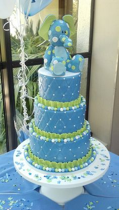 Note to Carol I wants this for my baby shower. Start baking! blue and green elephant baby shower cake