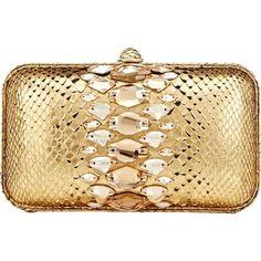 Zagliani Python Aida Clutch featuring polyvore fashion bags handbags clutches bolsas purses clutch bags gold gold metallic handbags snakeskin purse snakeskin handbags snake print handbag structured handbag