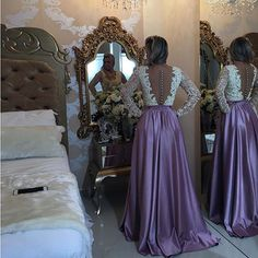 Vestido De Festa Full Sleeves Long Evening Dress Sexy Sheer Back Lace A line Prom Dresses Robe De Soiree Cheap Prom Gowns 2016-in Prom Dresses from Weddings & Events on Aliexpress.com   Alibaba Group
