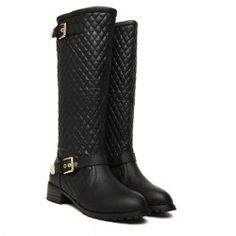 $30.11 Stylish Women's Knee-High Boots With Checked and Buckle Design